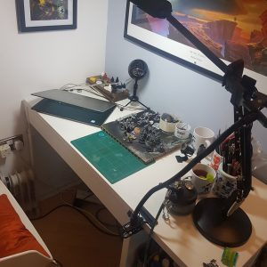 Desk in painting set up